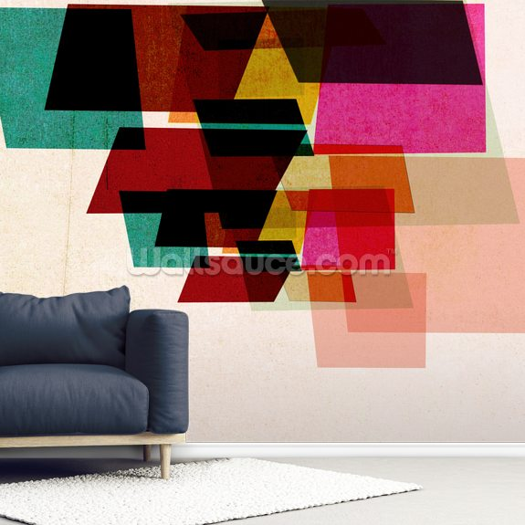 Magenta Maze wall mural room setting