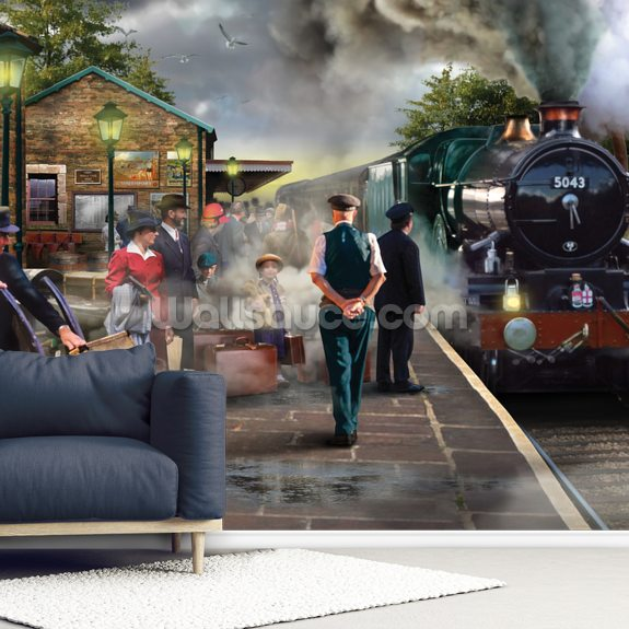 Steamtrain wall mural room setting