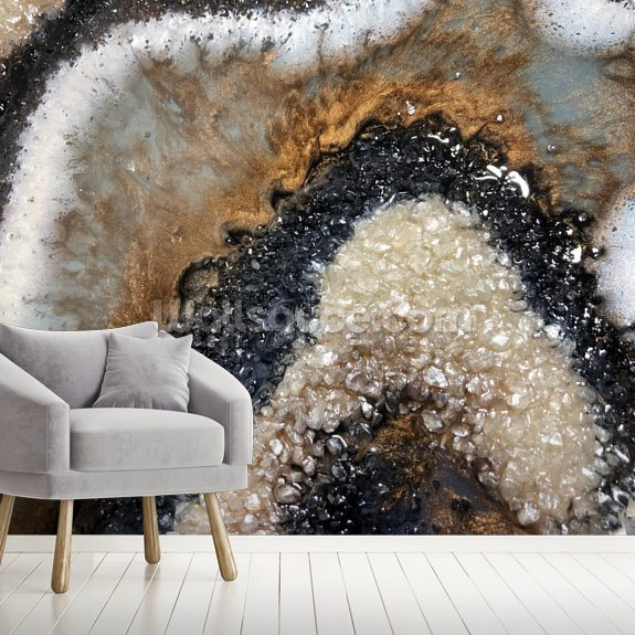 Earthy Geode wall mural room setting