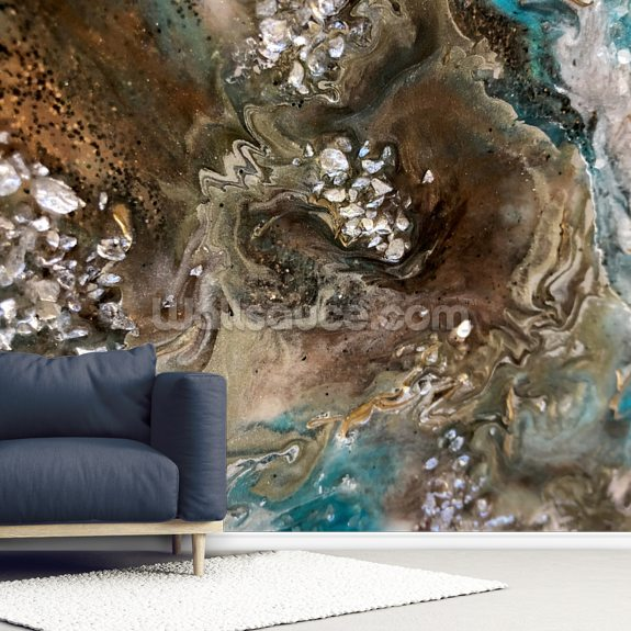 Satellite wallpaper mural room setting
