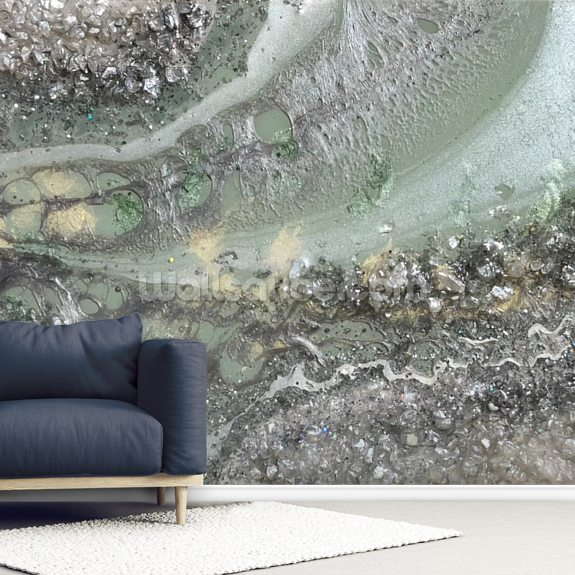 Spearmint Geode mural wallpaper room setting
