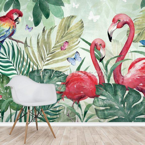 Tropical Flamingo Wall Mural By Di Brookes Wallsauce Uk