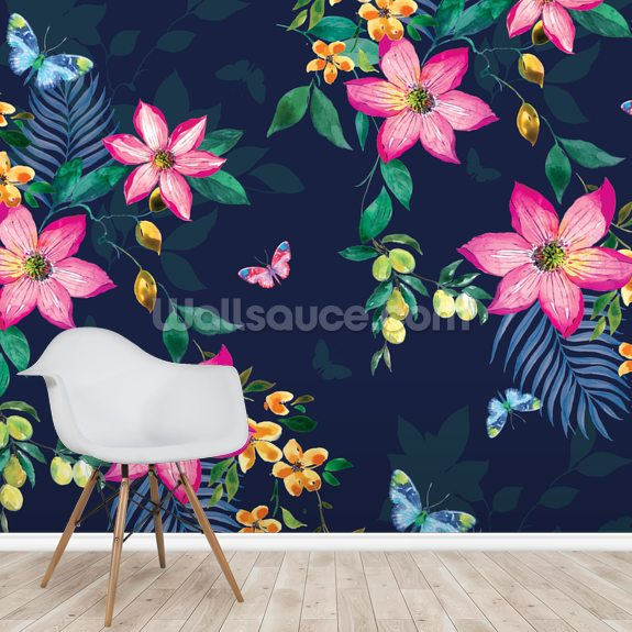 Tropical Flowers on Navy mural wallpaper room setting