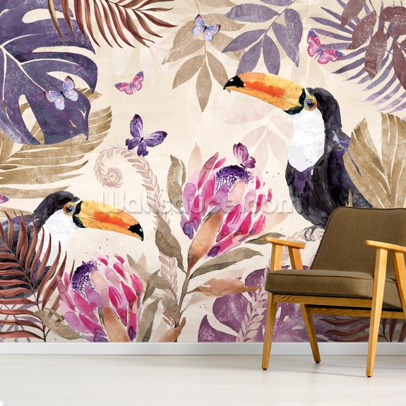 Tropical Leaves II wall mural room setting