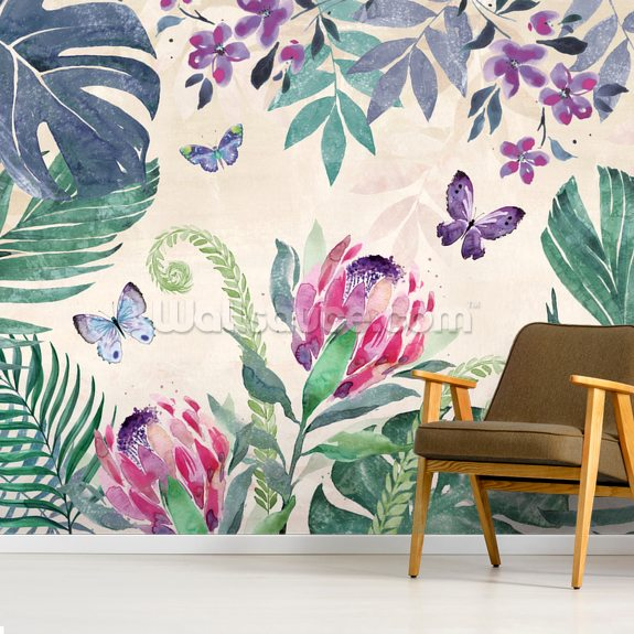 Tropical Leaves III wallpaper mural room setting