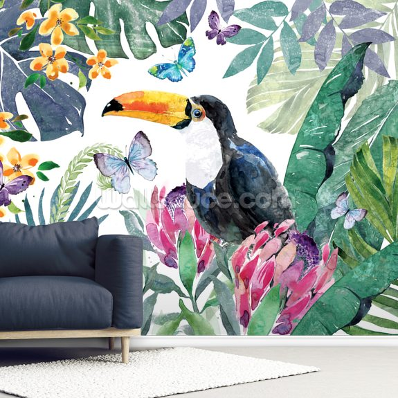 Tropical Leaves Toucan mural wallpaper room setting