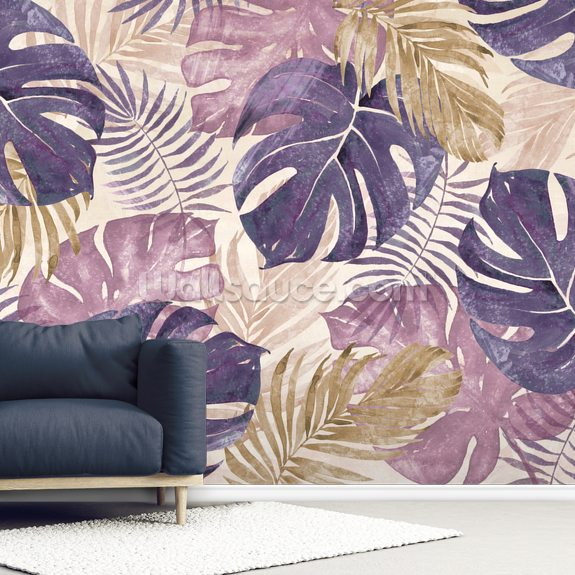 Tropical Leaves wall mural room setting