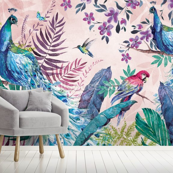 Tropical Peacock wallpaper mural room setting