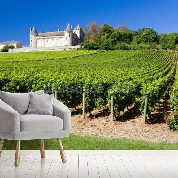 Burgundy Chateau De Rully Vineyards Mural Wallpaper Room Setting
