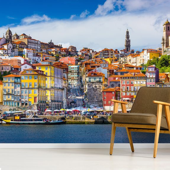 Colourful Historic Porto wall mural room setting