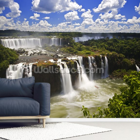 Iguassu Falls Series of Waterfalls wallpaper mural room setting
