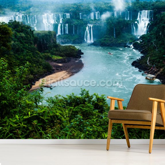 Iguassu Falls, Brazillian Side mural wallpaper room setting