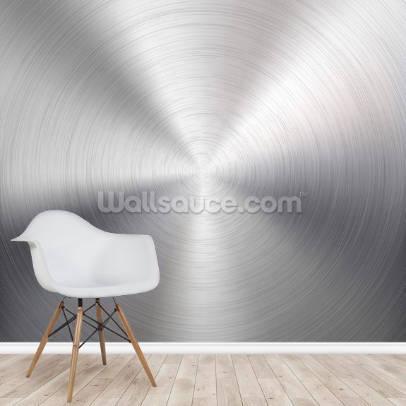 Circular Metal Brushed Texture wallpaper mural room setting