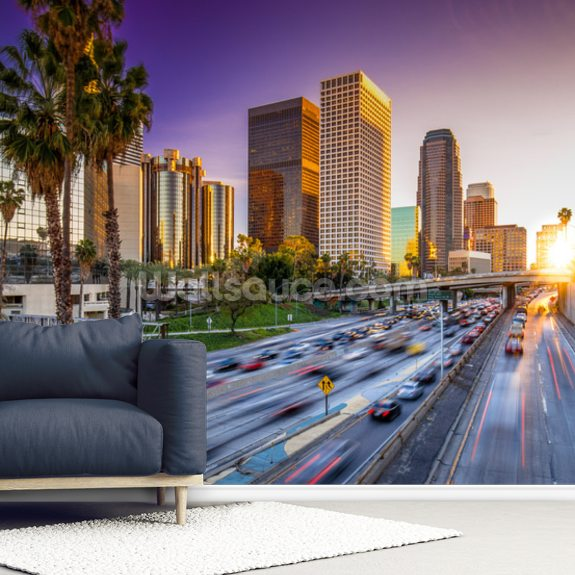 Wallpaper Los Angeles: Los Angeles Downtown At Sunset Wallpaper Mural