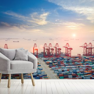 Port of Shanghai Containers Wallpaper Wall Murals