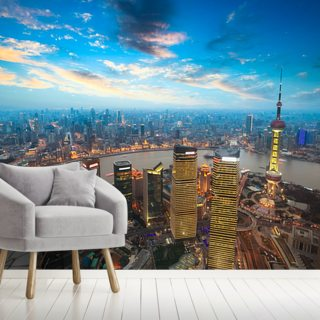 Shanghai at Dusk Wallpaper Wall Murals