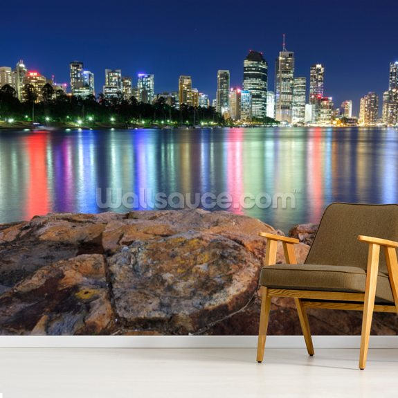 Brisbane Night Reflections wallpaper mural room setting