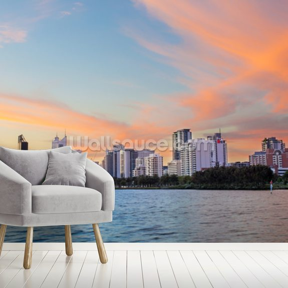 Perth Skyline at Sunset wall mural room setting