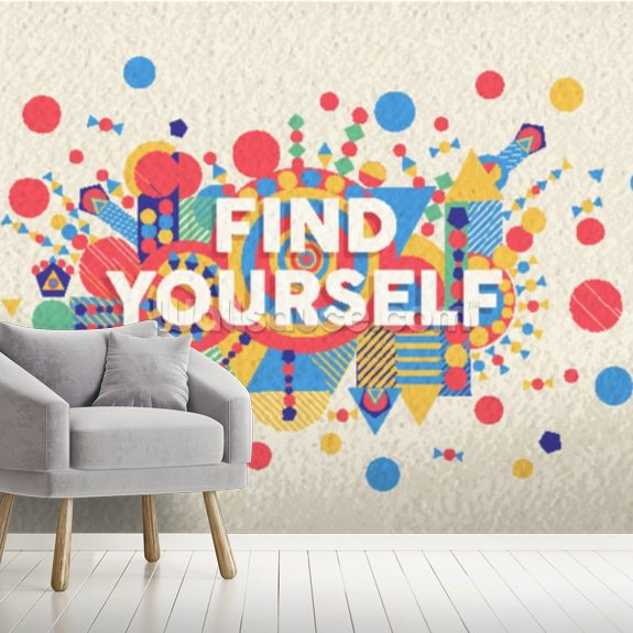 Find Yourself wallpaper mural room setting