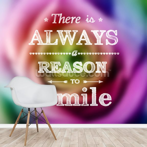 Smile Message wall mural room setting
