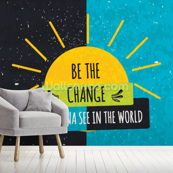Be the Change wall mural room setting