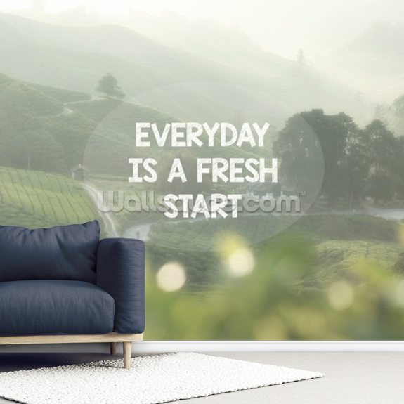 Everyday is a Fresh Start mural wallpaper room setting