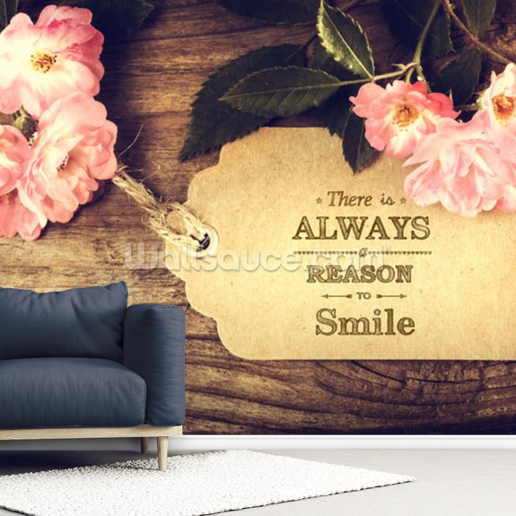 Always Smile Quote wall mural room setting