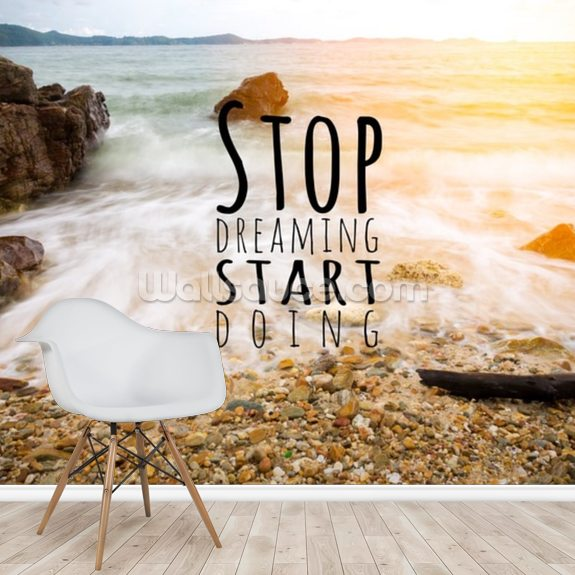 Stop Dreaming mural wallpaper room setting