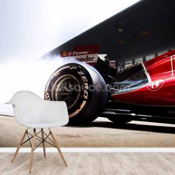 Ferrari F1 mural wallpaper room setting