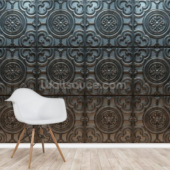 Decorative Tin Patterned wallpaper mural room setting