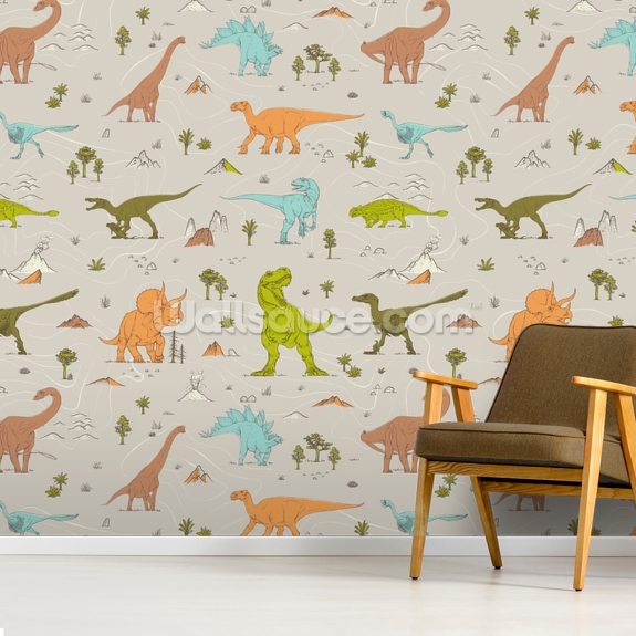 Colourful Dinosaur Pattern wall mural room setting