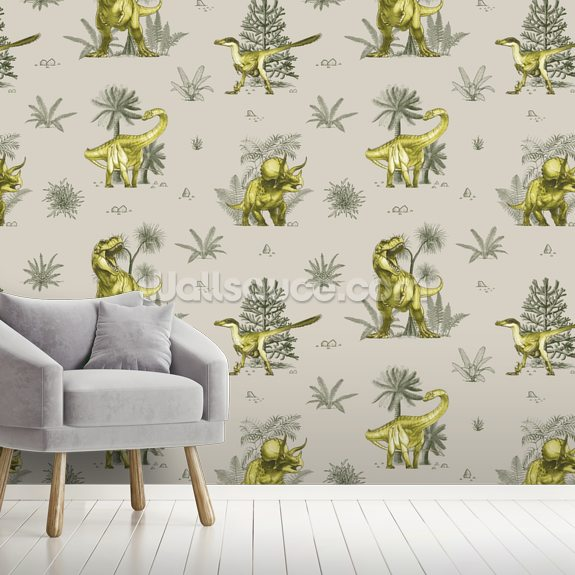 Green Dinosaur Pattern wallpaper mural room setting