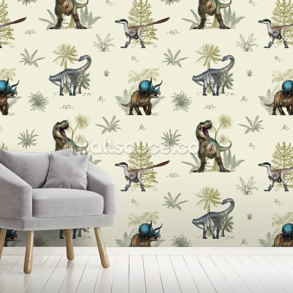 Illustrated Dinosaur Pattern mural wallpaper room setting