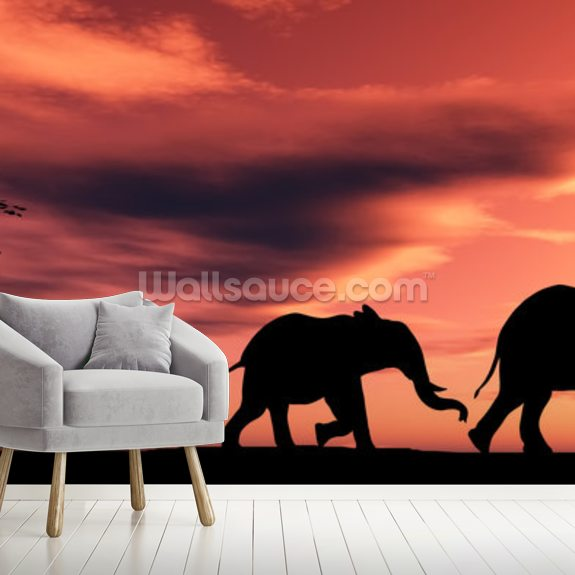 Elephant Family wallpaper mural room setting