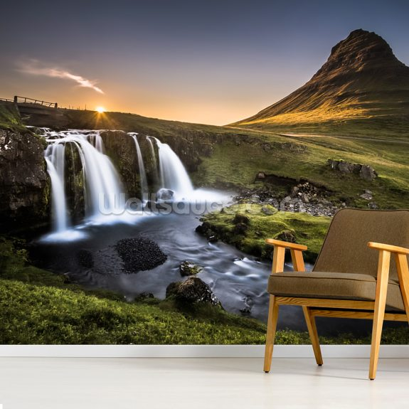Kirkjufellfoss Iceland mural wallpaper room setting