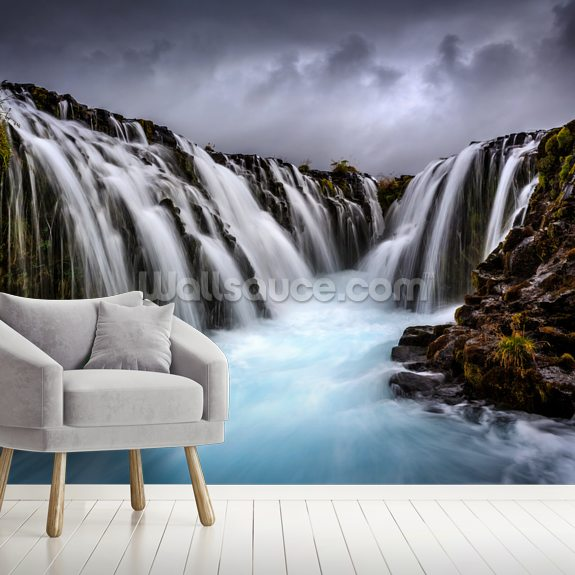 Bruarfoss 2 wallpaper mural room setting