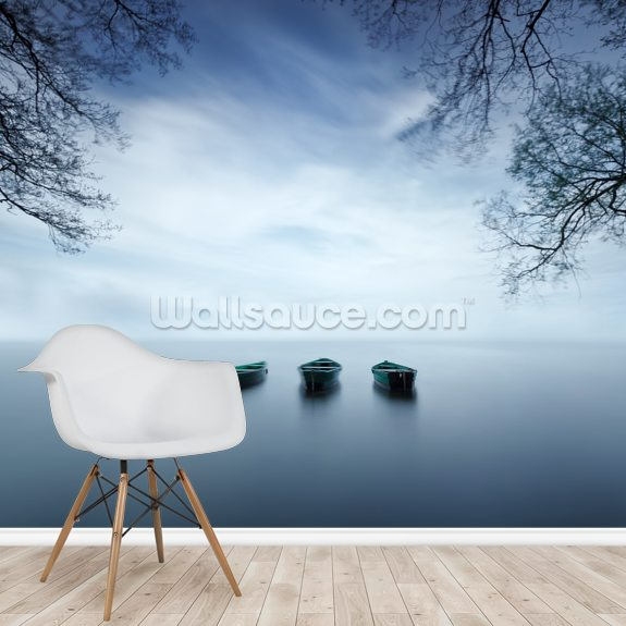 Three Boats wallpaper mural room setting