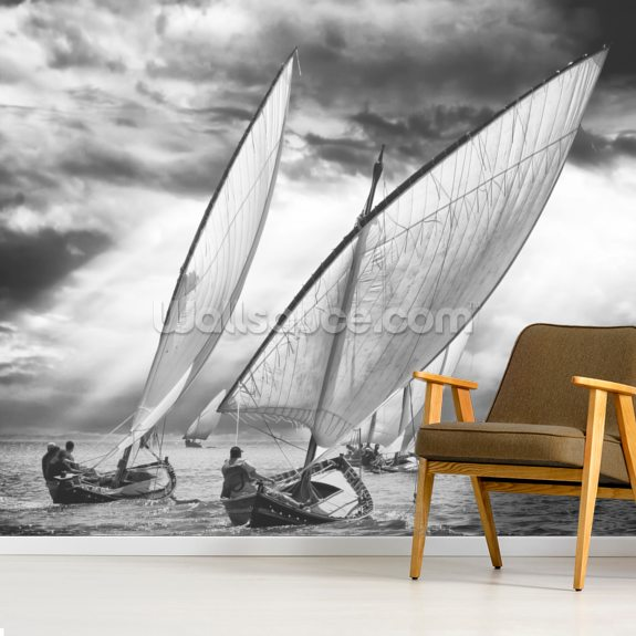 Sailboats and Light mural wallpaper room setting