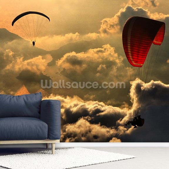 Paragliding wall mural room setting