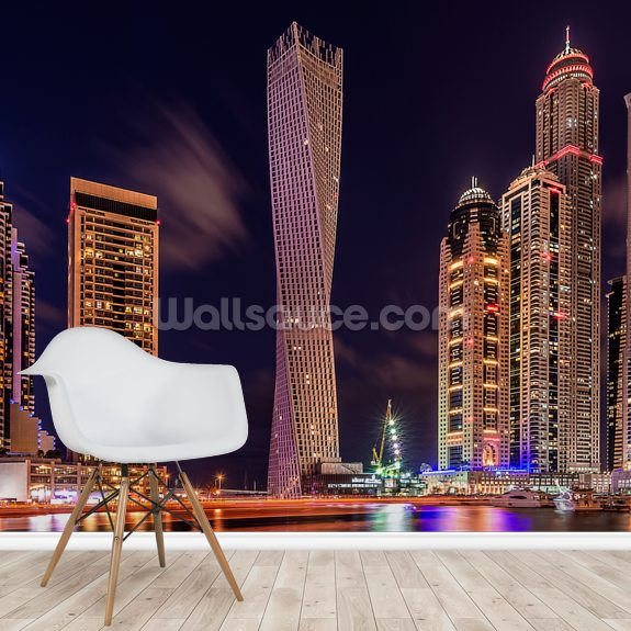 Dubai Marina at Night wallpaper mural room setting