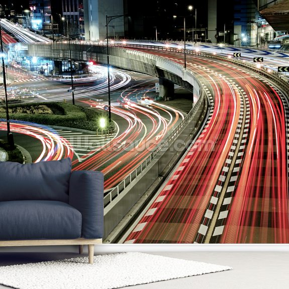 Chaotic Traffic mural wallpaper room setting