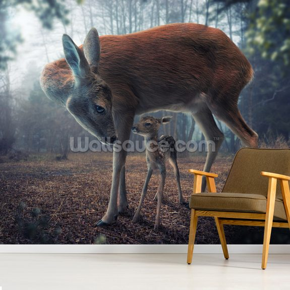 Mother and Fawn mural wallpaper room setting