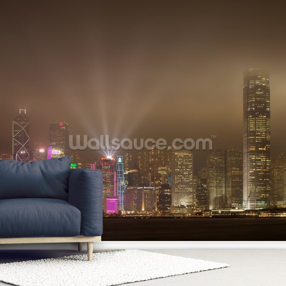 Hong Kong Lights wall mural room setting