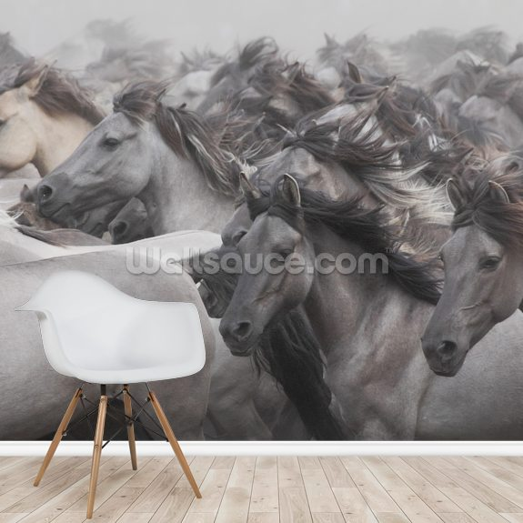 Wild Horses mural wallpaper room setting