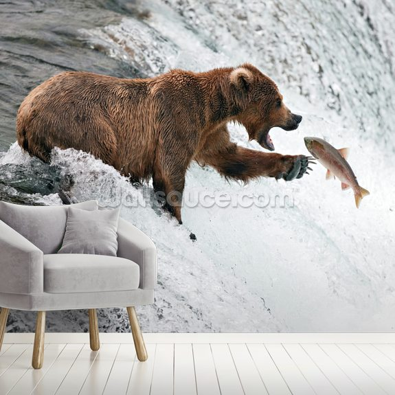 Grizzly Bear wallpaper mural room setting