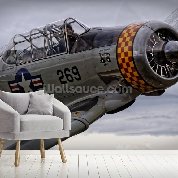 Grumman Hellcat mural wallpaper room setting