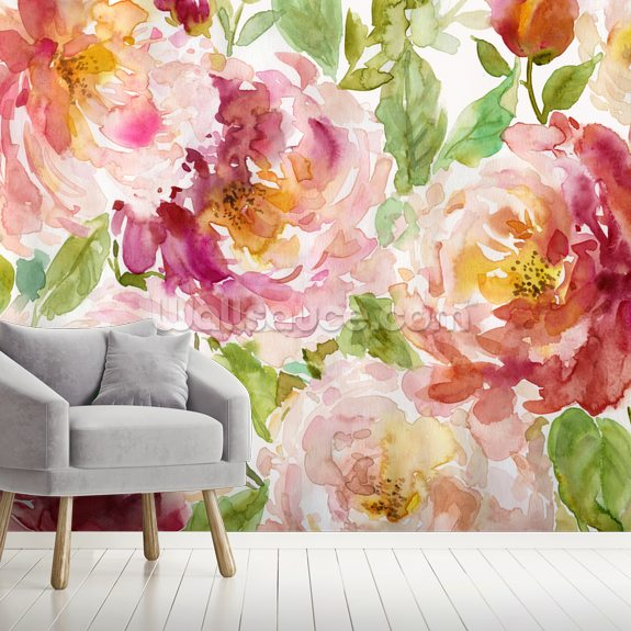 Bold and Beautiful Floral wall mural room setting