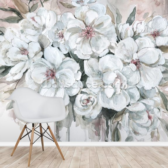 Blushing Bouquet wallpaper mural room setting