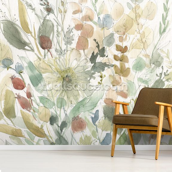 Linen Wildflower mural wallpaper room setting