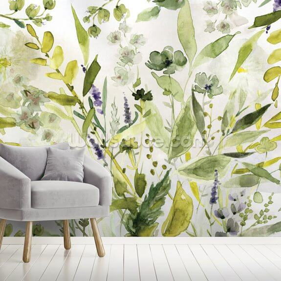Olive Green Plants mural wallpaper room setting